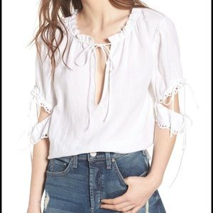NWT McGuire piha linen beach blouse in white